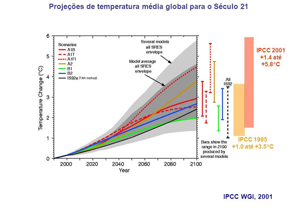IPCC WGI, 2001 IPCC 1995 +1.0 até +3.5 C IPCC 2001 +1.4 até +5.8 C Projeções de temperatura média global para o Século 21