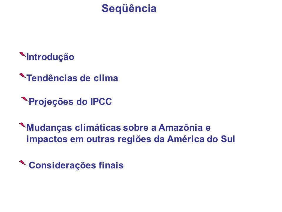 Tendências de clima Projeções do IPCC Mudanças climáticas sobre a Amazônia e impactos em outras regiões da América do Sul Considerações finais Seqüência Introdução