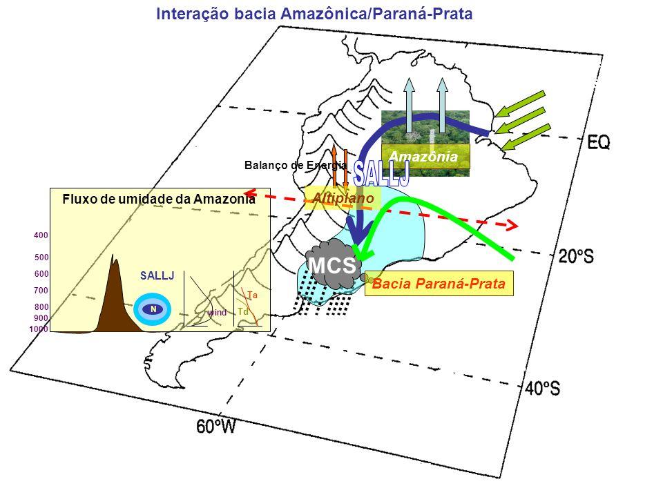 Northeast Trades ET Amazônia MCS Bacia Paraná-Prata wind Ta Td SALLJ N 500 200 hPa 1000 800 900 600 700 400 300 Altiplano Fluxo de umidade da Amazonia Balanço de Energia Interação bacia Amazônica/Paraná-Prata