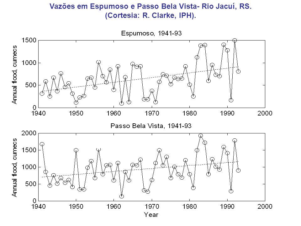 Vazões em Espumoso e Passo Bela Vista- Rio Jacuí, RS. (Cortesia: R. Clarke, IPH).