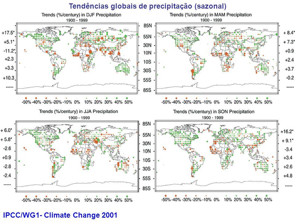 IPCC/WG1- Climate Change 2001 Tendências globais de precipitação (sazonal)