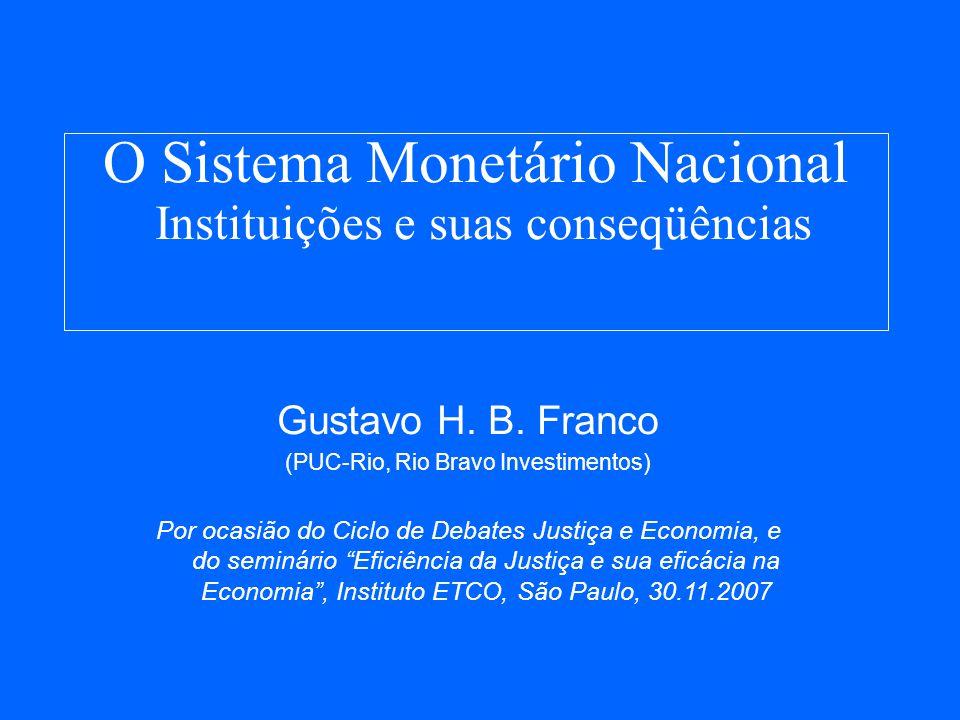 O Sistema Monetário Nacional Instituições e suas conseqüências Gustavo H.