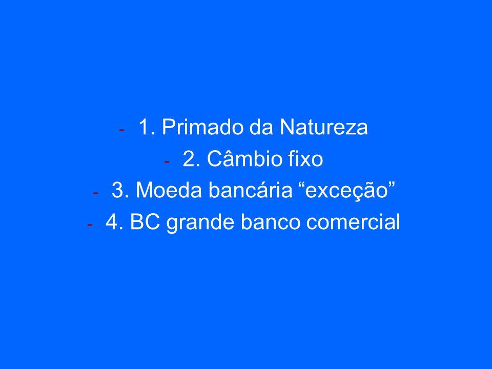 - 1. Primado da Natureza - 2. Câmbio fixo - 3. Moeda bancária exceção - 4. BC grande banco comercial
