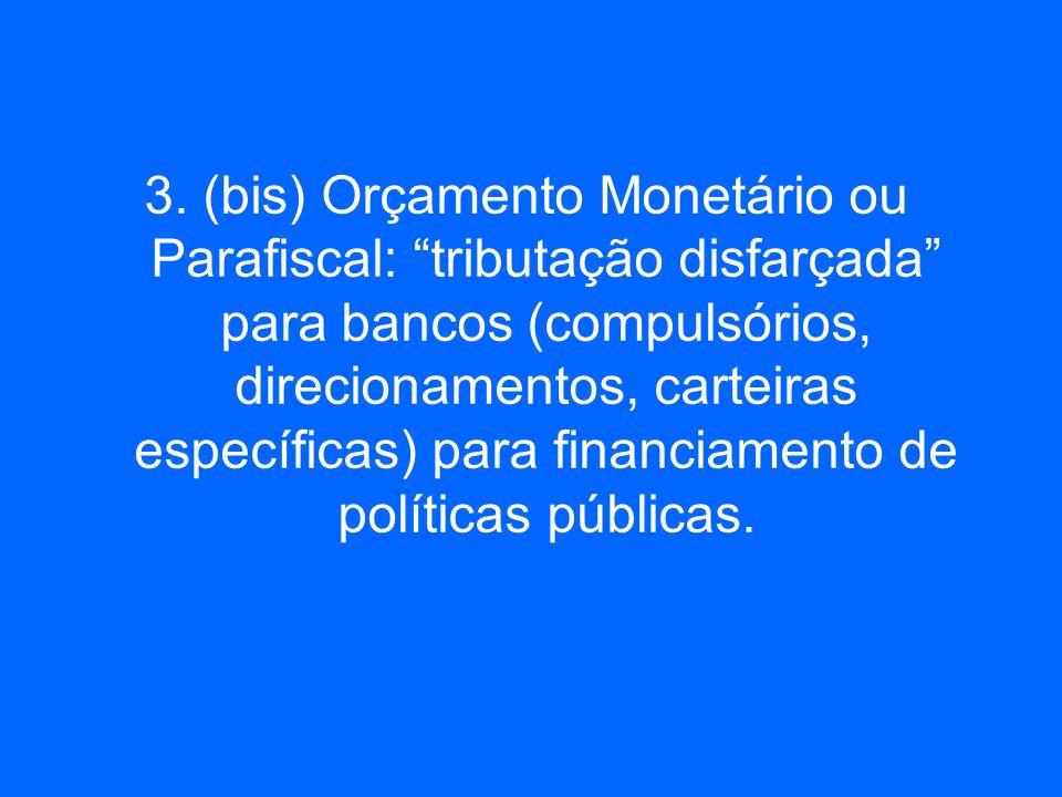 3. (bis) Orçamento Monetário ou Parafiscal: tributação disfarçada para bancos (compulsórios, direcionamentos, carteiras específicas) para financiament