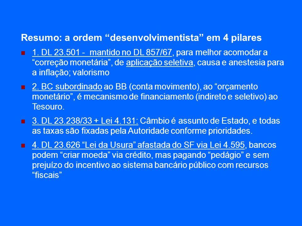 Resumo: a ordem desenvolvimentista em 4 pilares 1. DL 23.501 - mantido no DL 857/67, para melhor acomodar a correção monetária, de aplicação seletiva,