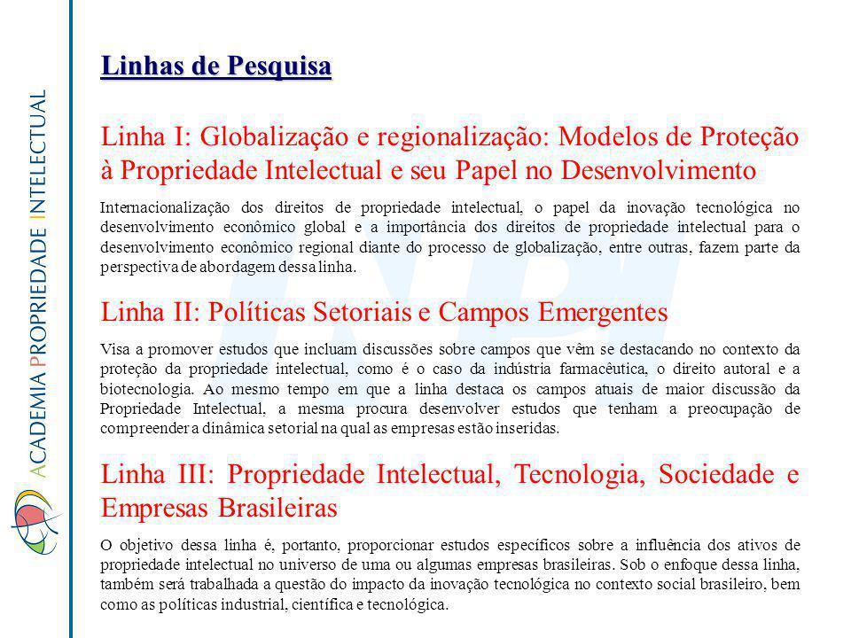 Linhas de Pesquisa Linha I: Globalização e regionalização: Modelos de Proteção à Propriedade Intelectual e seu Papel no Desenvolvimento Internacionali