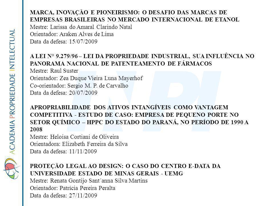 MARCA, INOVAÇÃO E PIONEIRISMO: O DESAFIO DAS MARCAS DE EMPRESAS BRASILEIRAS NO MERCADO INTERNACIONAL DE ETANOL Mestre: Larissa do Amaral Clarindo Nata