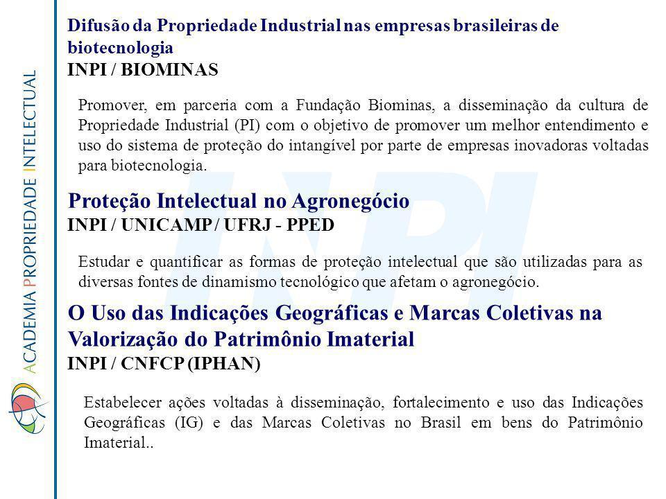Difusão da Propriedade Industrial nas empresas brasileiras de biotecnologia INPI / BIOMINAS Promover, em parceria com a Fundação Biominas, a dissemina
