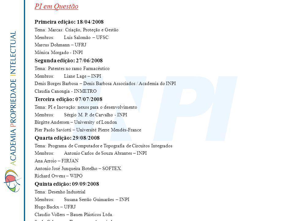 PI em Questão Primeira edição: 18/04/2008 Tema: Marcas: Criação, Proteção e Gestão Membros:Luis Salomão – UFSC Marcus Dohmann – UFRJ Mônica Morgado -