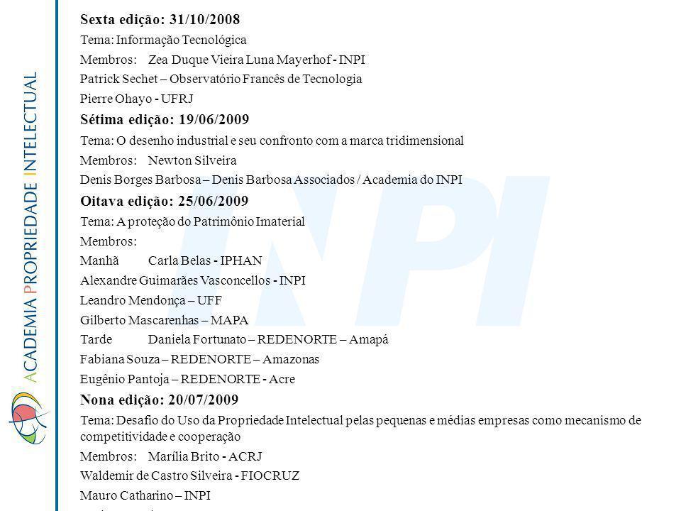 Sexta edição: 31/10/2008 Tema: Informação Tecnológica Membros:Zea Duque Vieira Luna Mayerhof - INPI Patrick Sechet – Observatório Francês de Tecnologi