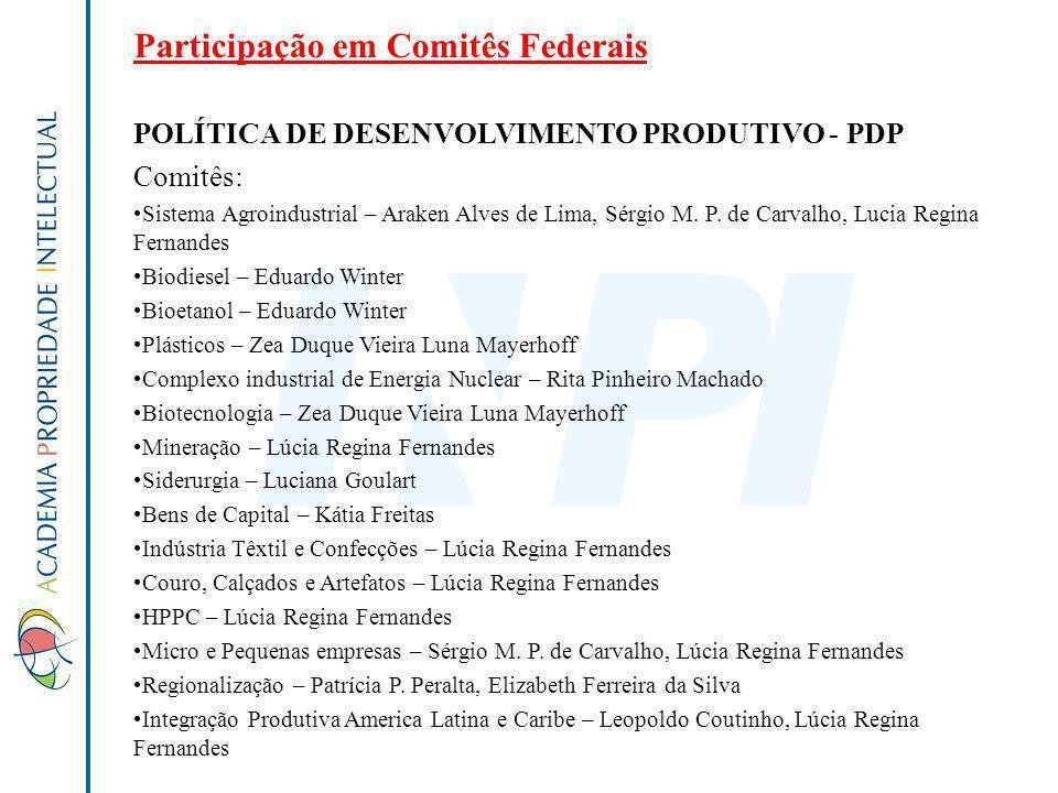 Participação em Comitês Federais POLÍTICA DE DESENVOLVIMENTO PRODUTIVO - PDP Comitês: Sistema Agroindustrial – Araken Alves de Lima, Sérgio M. P. de C