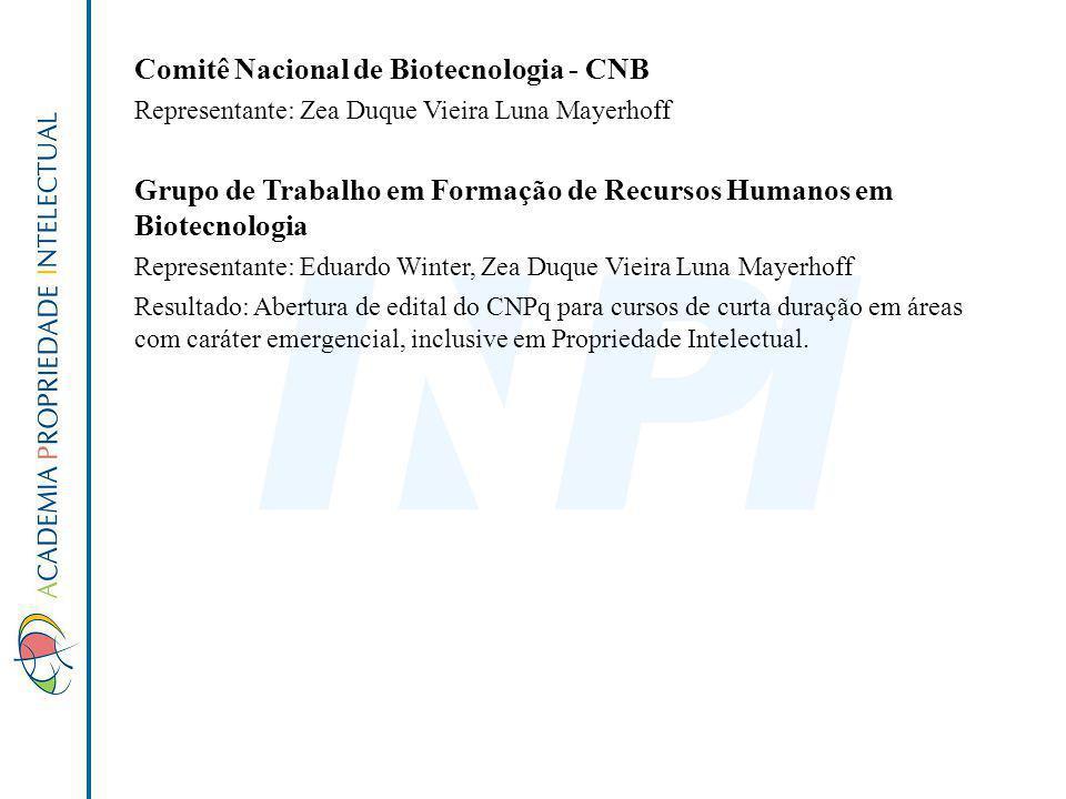 Comitê Nacional de Biotecnologia - CNB Representante: Zea Duque Vieira Luna Mayerhoff Grupo de Trabalho em Formação de Recursos Humanos em Biotecnolog