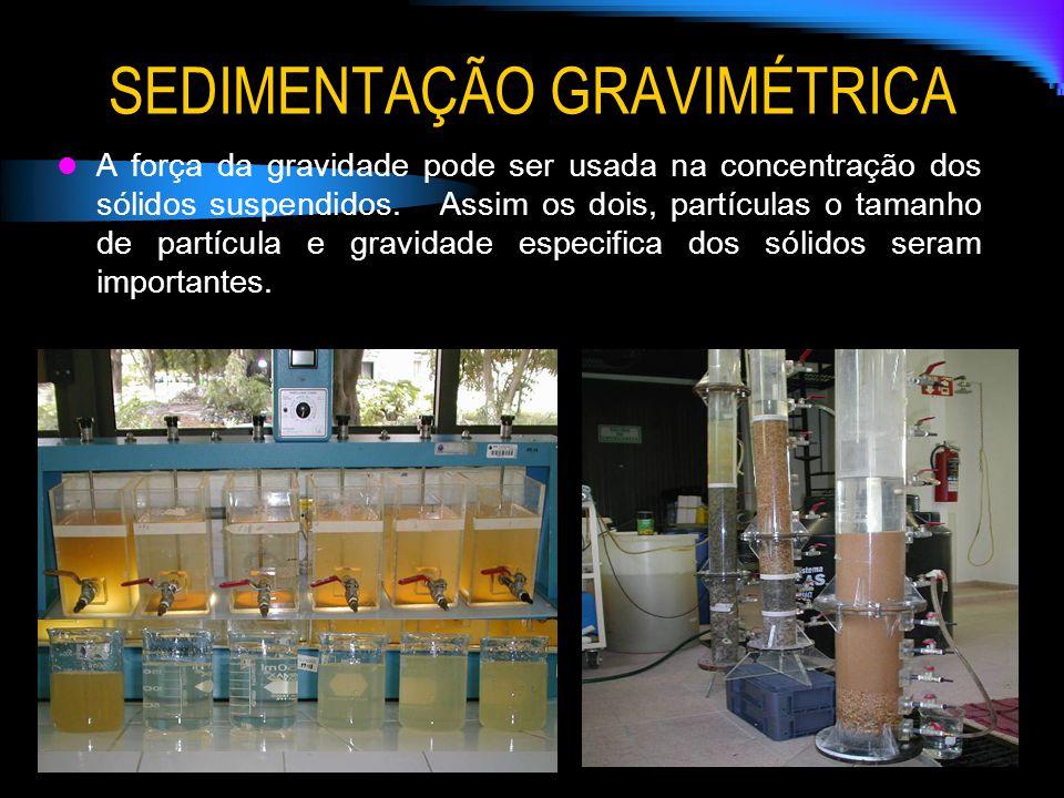 SEDIMENTAÇÃO GRAVIMÉTRICA A força da gravidade pode ser usada na concentração dos sólidos suspendidos. Assim os dois, partículas o tamanho de partícul