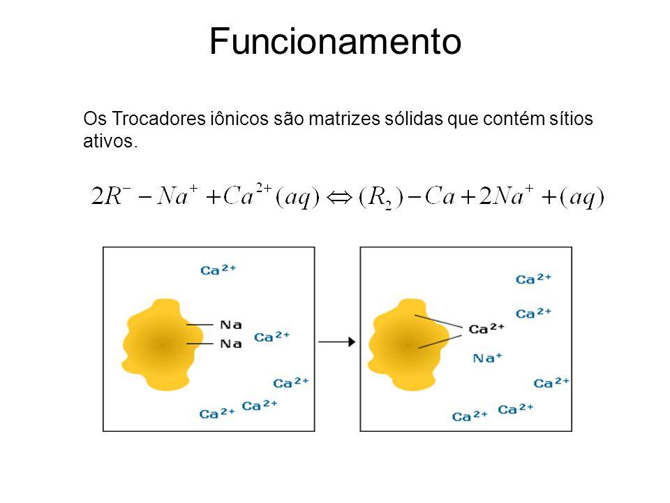 Funcionamento Os Trocadores iônicos são matrizes sólidas que contém sítios ativos.