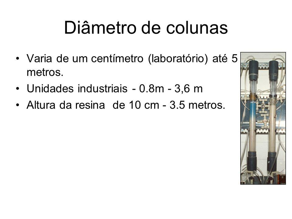 Diâmetro de colunas Varia de um centímetro (laboratório) até 5 metros. Unidades industriais - 0.8m - 3,6 m Altura da resina de 10 cm - 3.5 metros.
