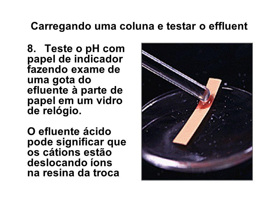 Carregando uma coluna e testar o effluent 8.Teste o pH com papel de indicador fazendo exame de uma gota do efluente à parte de papel em um vidro de re