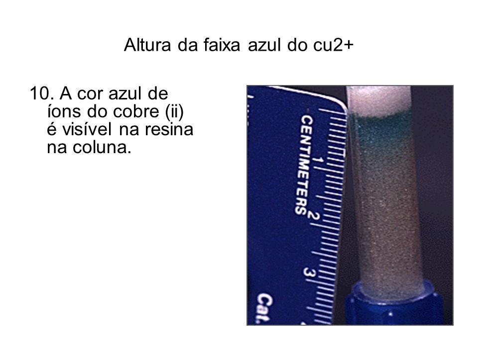 Altura da faixa azul do cu2+ 10. A cor azul de íons do cobre (ii) é visível na resina na coluna.