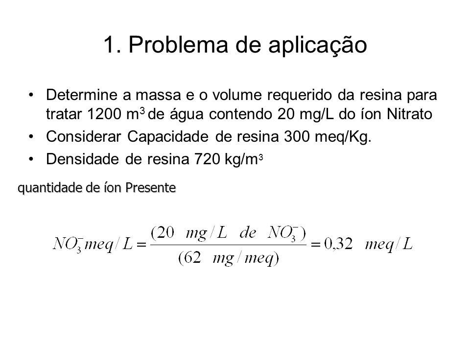 1. Problema de aplicação Determine a massa e o volume requerido da resina para tratar 1200 m 3 de água contendo 20 mg/L do íon Nitrato Considerar Capa