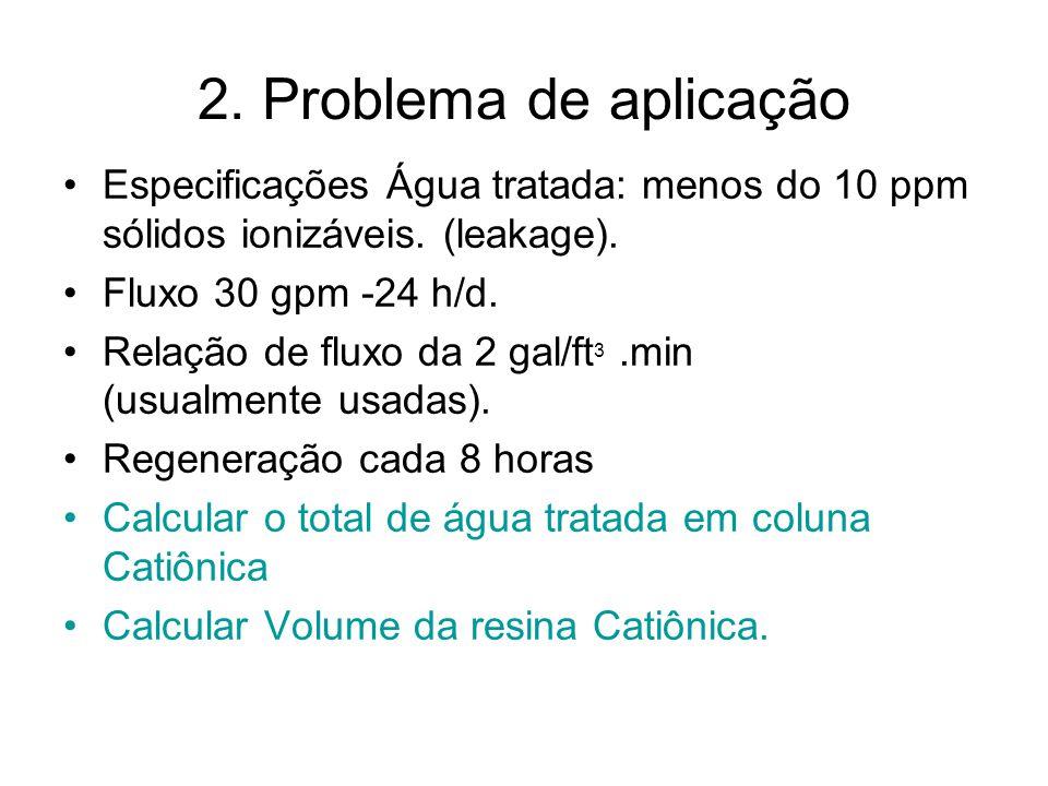 2. Problema de aplicação Especificações Água tratada: menos do 10 ppm sólidos ionizáveis. (leakage). Fluxo 30 gpm -24 h/d. Relação de fluxo da 2 gal/f
