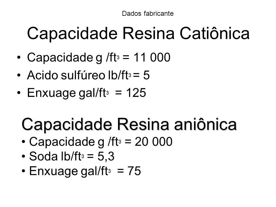 Capacidade Resina Catiônica Capacidade g /ft 3 = 11 000 Acido sulfúreo lb/ft 3 = 5 Enxuage gal/ft 3 = 125 Capacidade Resina aniônica Capacidade g /ft