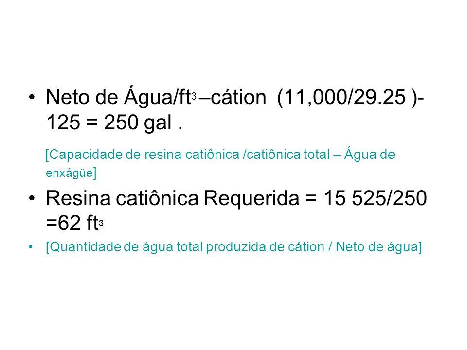 Neto de Água/ft 3 –cátion (11,000/29.25 )- 125 = 250 gal. [Capacidade de resina catiônica /catiônica total – Água de enxágüe ] Resina catiônica Requer
