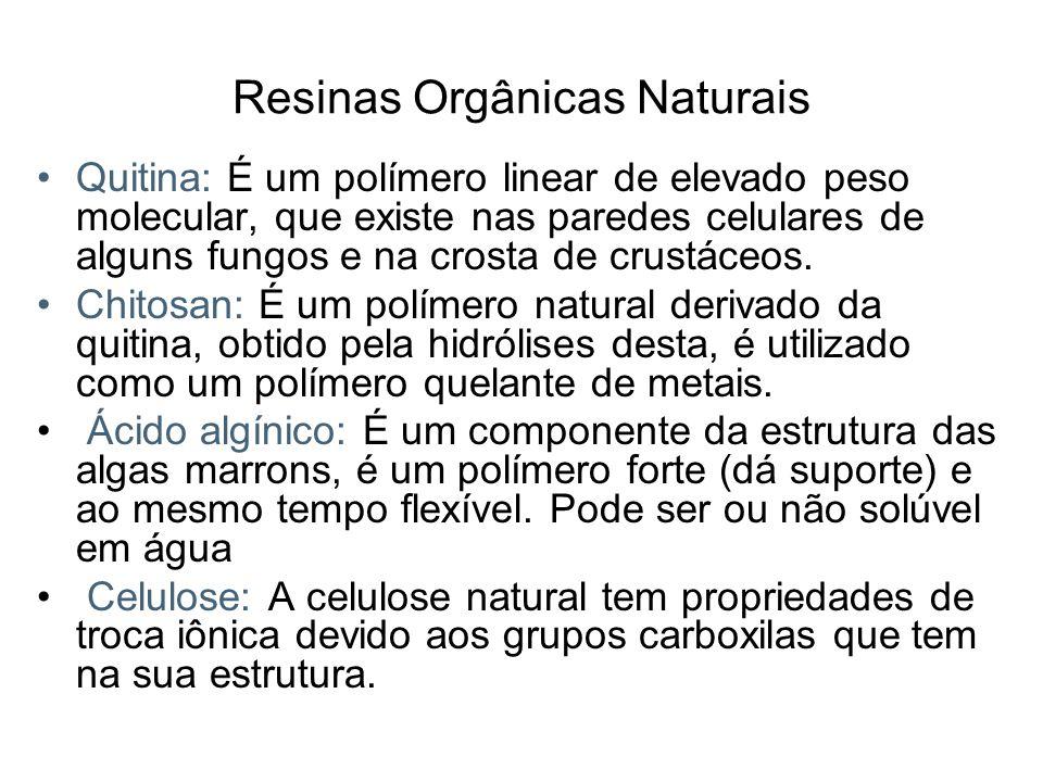 Resinas Orgânicas Naturais Quitina: É um polímero linear de elevado peso molecular, que existe nas paredes celulares de alguns fungos e na crosta de c