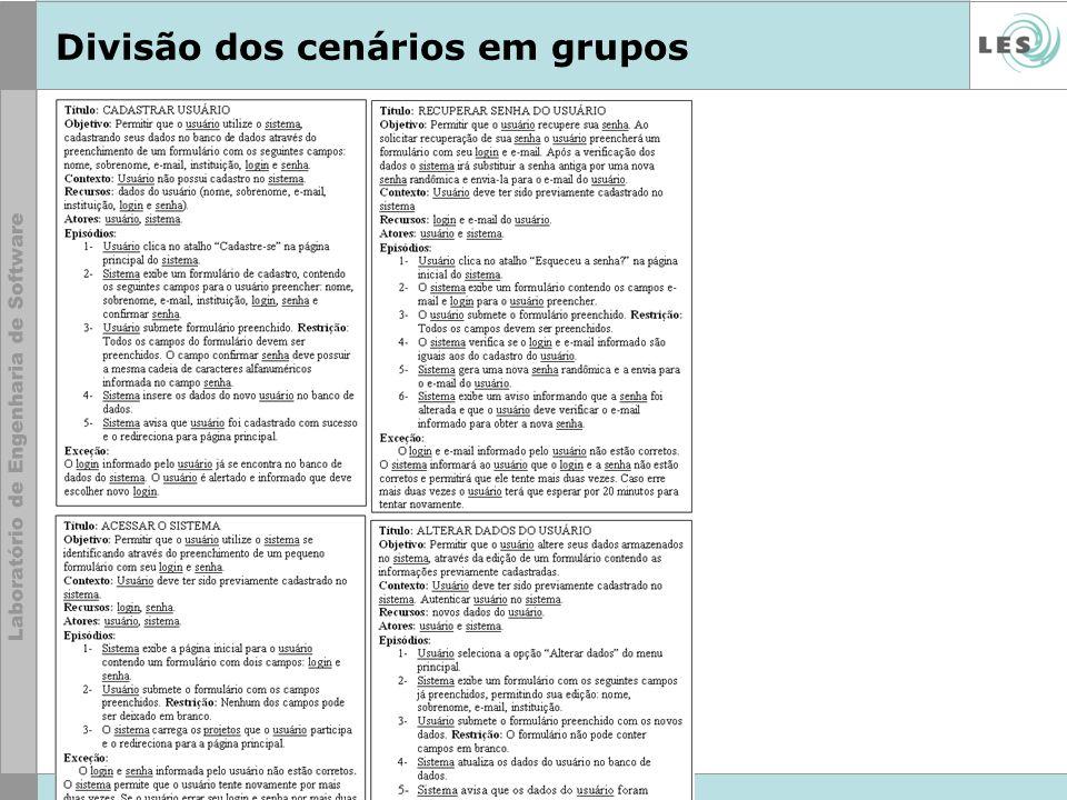 © LES/PUC-Rio Divisão dos cenários em grupos