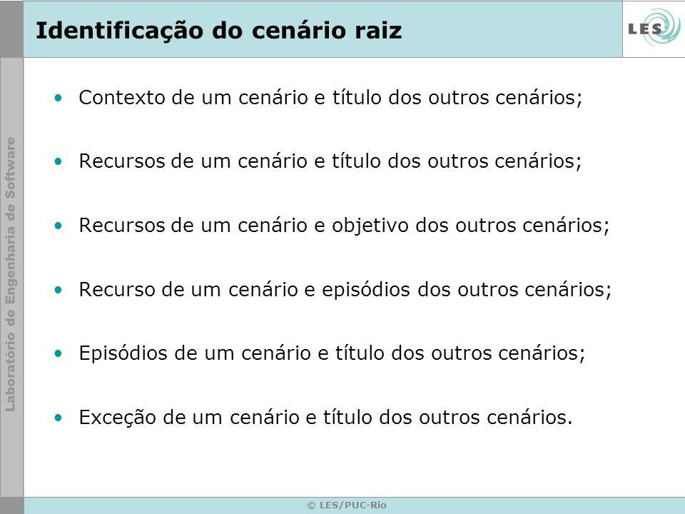 © LES/PUC-Rio Identificação do cenário raiz Contexto de um cenário e título dos outros cenários; Recursos de um cenário e título dos outros cenários; Recursos de um cenário e objetivo dos outros cenários; Recurso de um cenário e episódios dos outros cenários; Episódios de um cenário e título dos outros cenários; Exceção de um cenário e título dos outros cenários.