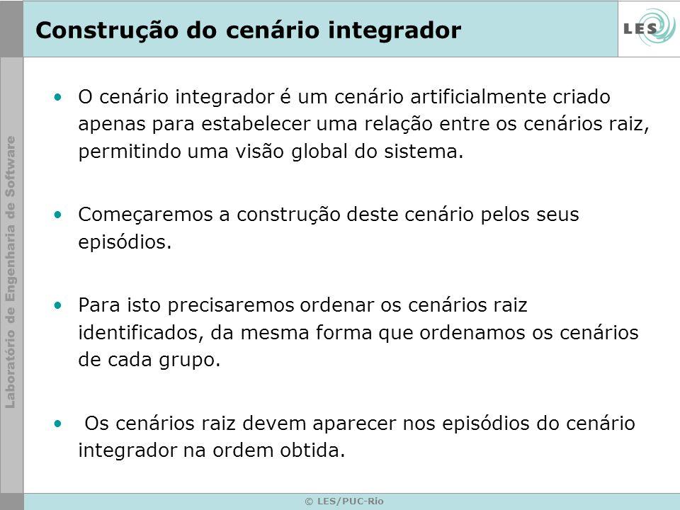 © LES/PUC-Rio Construção do cenário integrador O cenário integrador é um cenário artificialmente criado apenas para estabelecer uma relação entre os cenários raiz, permitindo uma visão global do sistema.