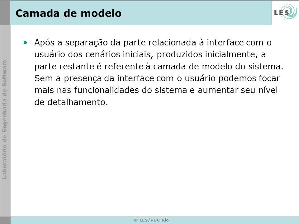 © LES/PUC-Rio Camada de modelo Após a separação da parte relacionada à interface com o usuário dos cenários iniciais, produzidos inicialmente, a parte restante é referente à camada de modelo do sistema.