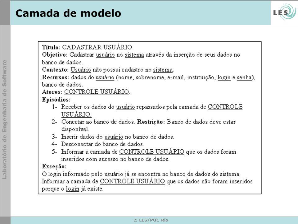 © LES/PUC-Rio Camada de modelo