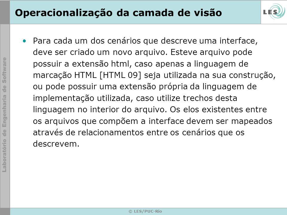 © LES/PUC-Rio Operacionalização da camada de visão Para cada um dos cenários que descreve uma interface, deve ser criado um novo arquivo.