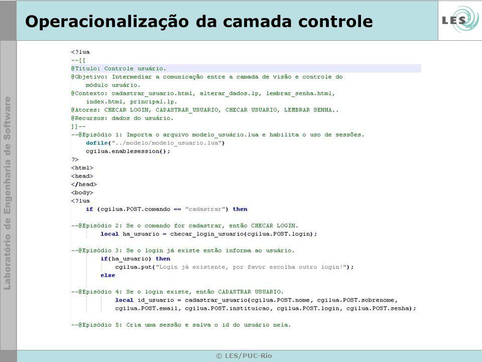 © LES/PUC-Rio Operacionalização da camada controle