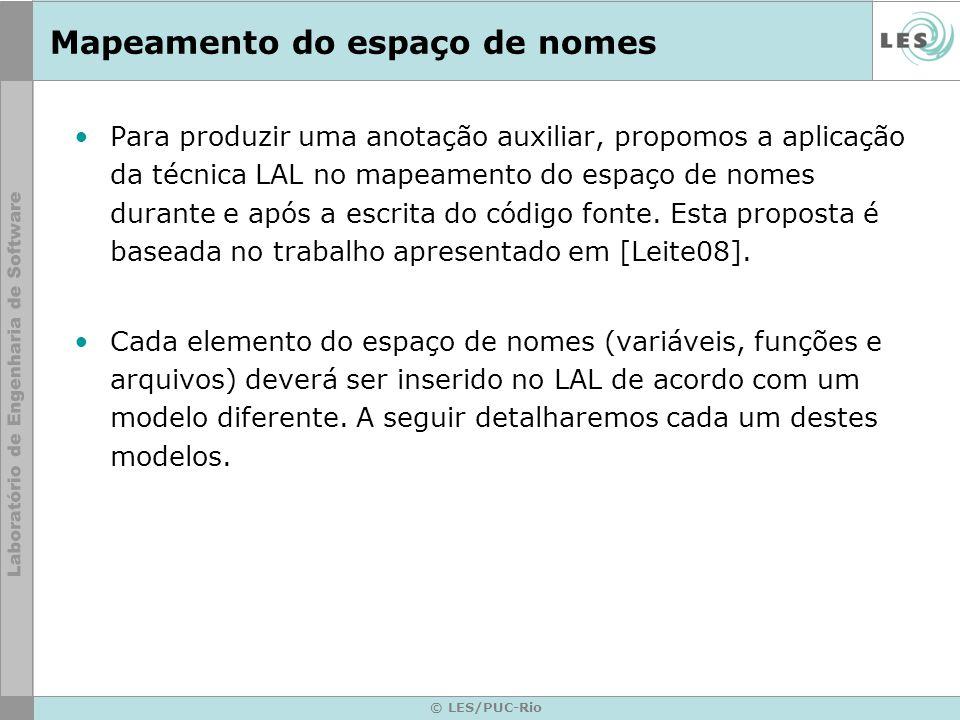© LES/PUC-Rio Mapeamento do espaço de nomes Para produzir uma anotação auxiliar, propomos a aplicação da técnica LAL no mapeamento do espaço de nomes durante e após a escrita do código fonte.