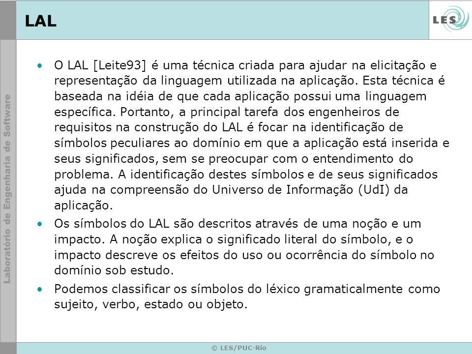 © LES/PUC-Rio LAL O LAL [Leite93] é uma técnica criada para ajudar na elicitação e representação da linguagem utilizada na aplicação.