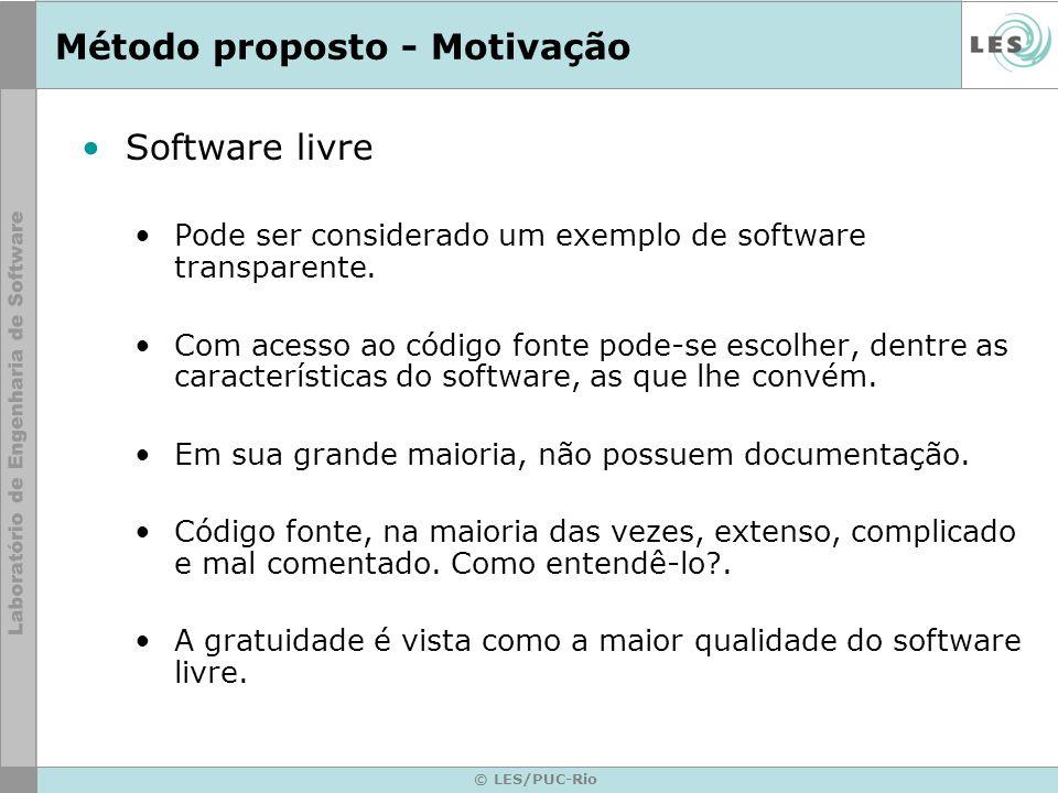 © LES/PUC-Rio Método proposto - Motivação Criar softwares melhor documentados.
