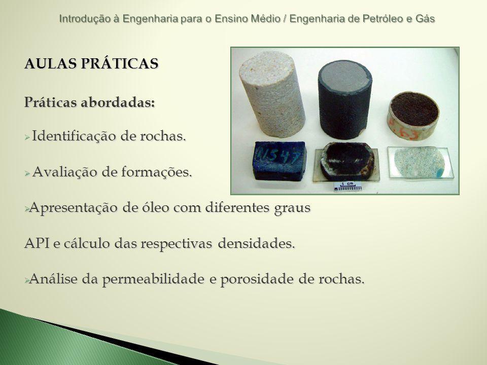 AULAS PRÁTICAS Práticas abordadas: Identificação de rochas. Avaliação de formações. Avaliação de formações. Apresentação de óleo com diferentes graus