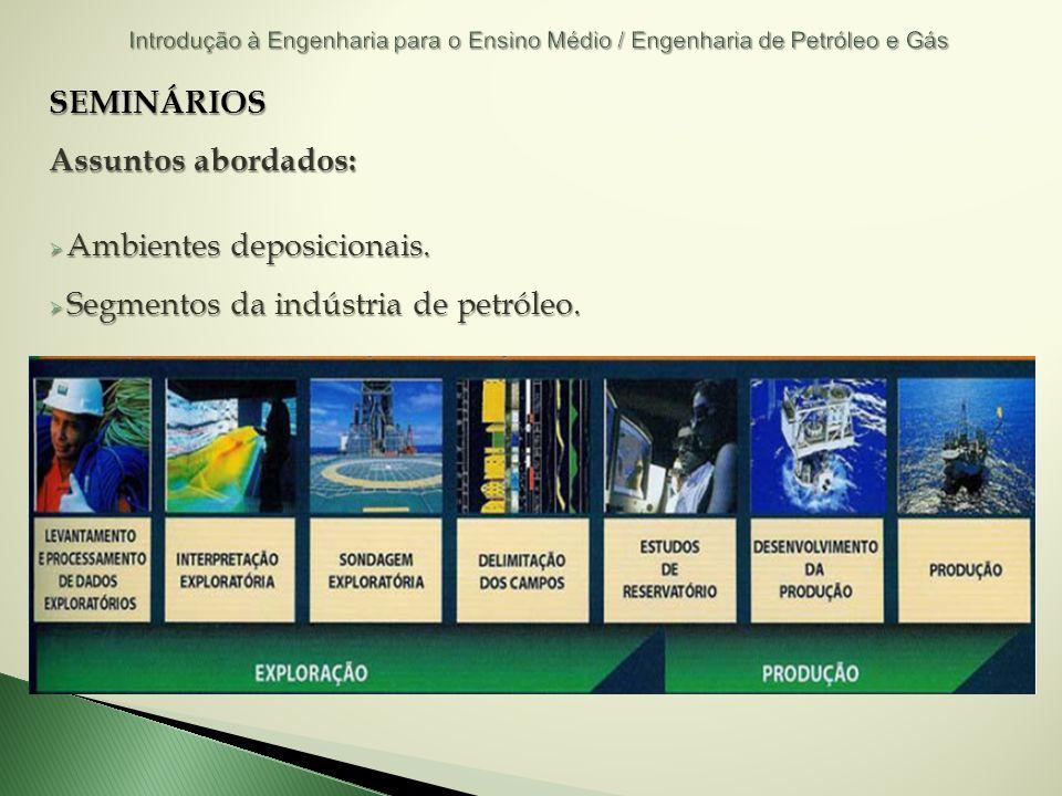 SEMINÁRIOS Assuntos abordados: Ambientes deposicionais. Ambientes deposicionais. Segmentos da indústria de petróleo. Segmentos da indústria de petróle