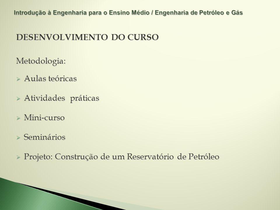 DESENVOLVIMENTO DO CURSO Metodologia: Aulas teóricas Aulas teóricas Atividades práticas Atividades práticas Mini-curso Mini-curso Seminários Seminário