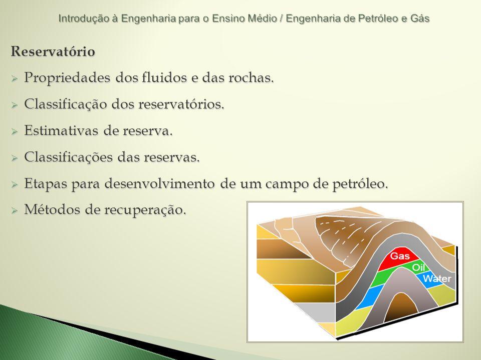 Reservatório Propriedades dos fluidos e das rochas. Propriedades dos fluidos e das rochas. Classificação dos reservatórios. Classificação dos reservat