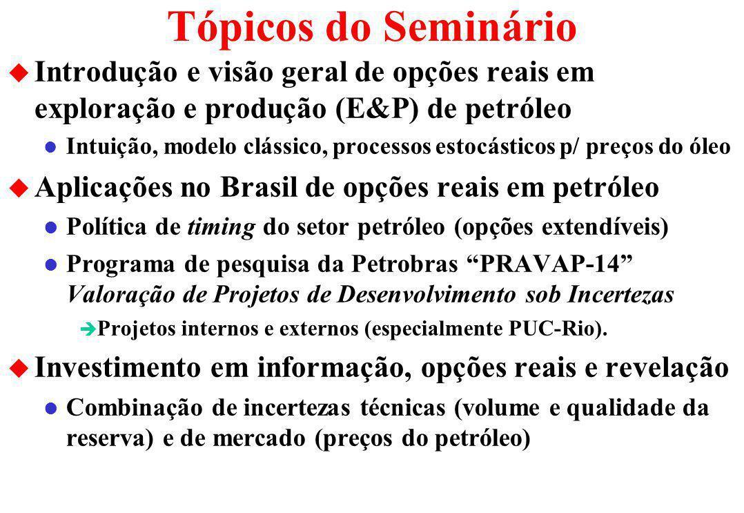 Tópicos do Seminário u Introdução e visão geral de opções reais em exploração e produção (E&P) de petróleo l Intuição, modelo clássico, processos estocásticos p/ preços do óleo u Aplicações no Brasil de opções reais em petróleo l Política de timing do setor petróleo (opções extendíveis) l Programa de pesquisa da Petrobras PRAVAP-14 Valoração de Projetos de Desenvolvimento sob Incertezas è Projetos internos e externos (especialmente PUC-Rio).