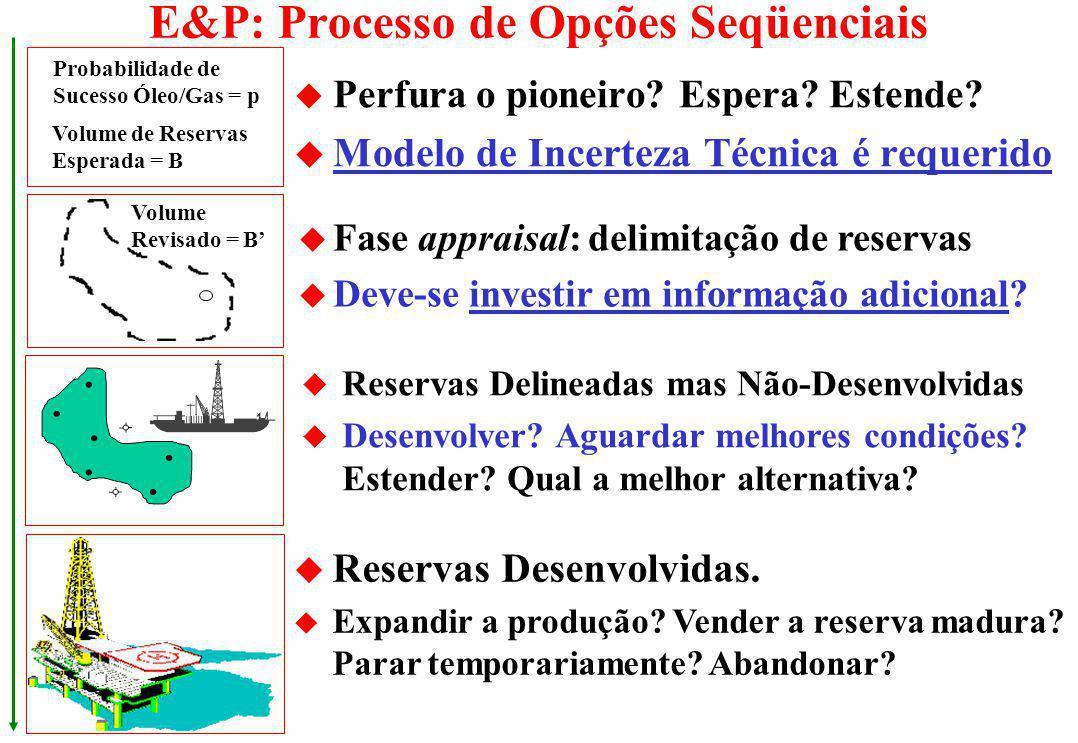 Equação Visual para Opções Reais Valoração do Prospecto (em milhões $) Valor Tradicional = 5 Valor de Opção (T) = + 12,5 Valor de Opção (@ t=0) = + 7,