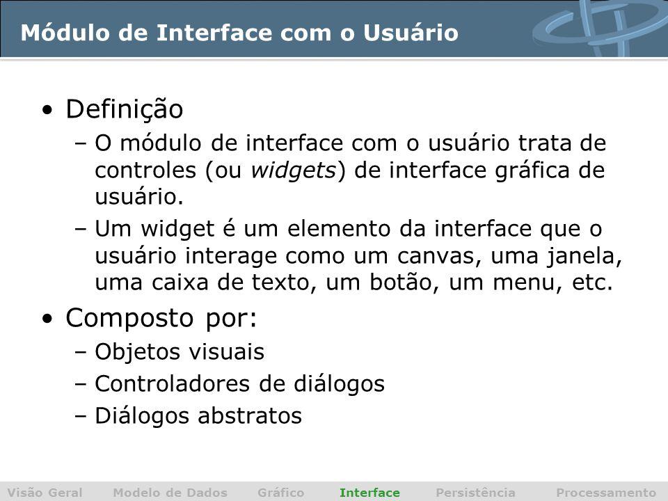 Módulo de Interface com o Usuário Definição –O módulo de interface com o usuário trata de controles (ou widgets) de interface gráfica de usuário. –Um
