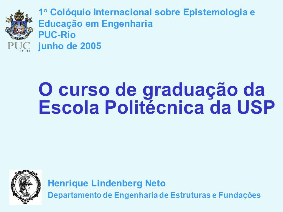 O curso de graduação da Escola Politécnica da USP Henrique Lindenberg Neto Departamento de Engenharia de Estruturas e Fundações 1 o Colóquio Internacional sobre Epistemologia e Educação em Engenharia PUC-Rio junho de 2005