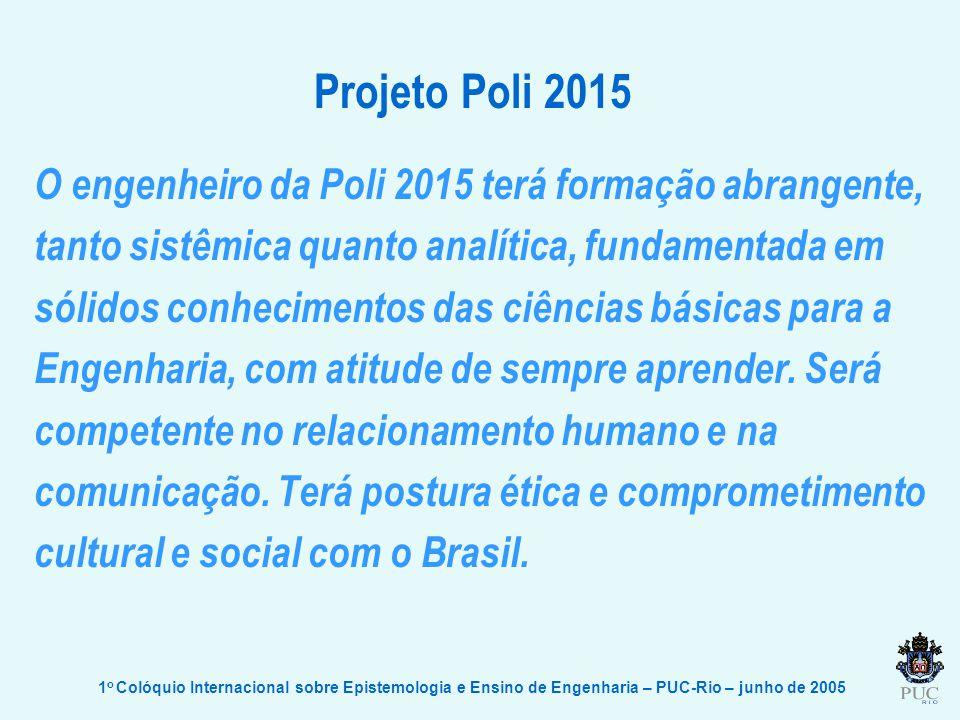 Projeto Poli 2015 O engenheiro da Poli 2015 terá formação abrangente, tanto sistêmica quanto analítica, fundamentada em sólidos conhecimentos das ciências básicas para a Engenharia, com atitude de sempre aprender.