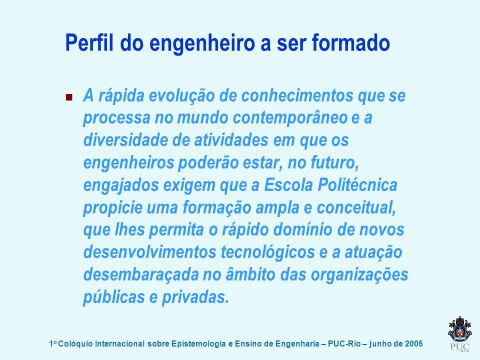 1 o Colóquio Internacional sobre Epistemologia e Ensino de Engenharia – PUC-Rio – junho de 2005 Perfil do engenheiro a ser formado A rápida evolução d