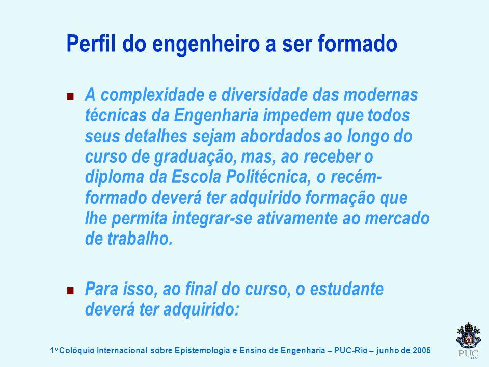 1 o Colóquio Internacional sobre Epistemologia e Ensino de Engenharia – PUC-Rio – junho de 2005 Perfil do engenheiro a ser formado A complexidade e di