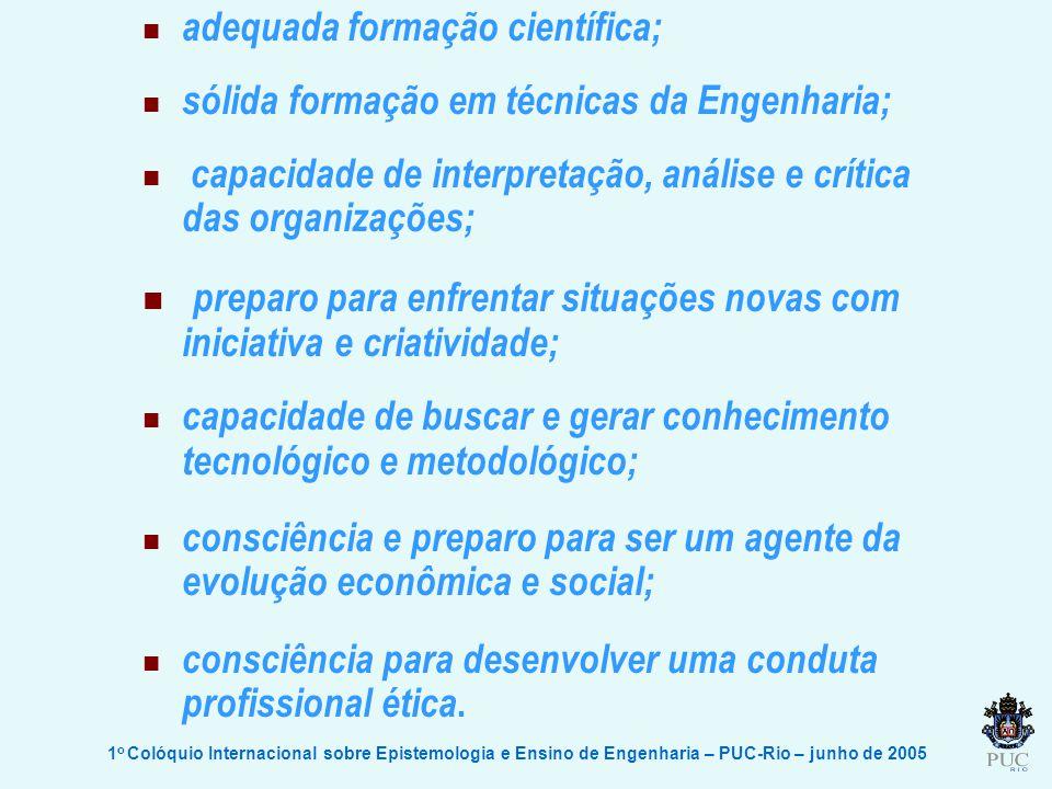 1 o Colóquio Internacional sobre Epistemologia e Ensino de Engenharia – PUC-Rio – junho de 2005 adequada formação científica; sólida formação em técni