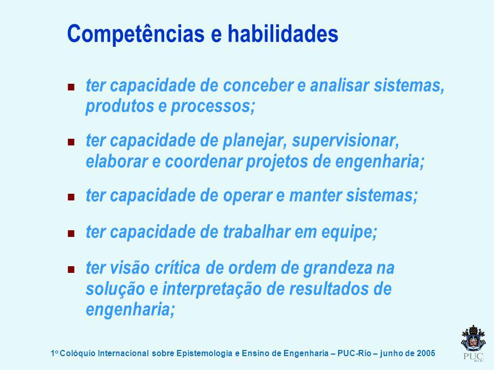 1 o Colóquio Internacional sobre Epistemologia e Ensino de Engenharia – PUC-Rio – junho de 2005 Competências e habilidades ter capacidade de conceber