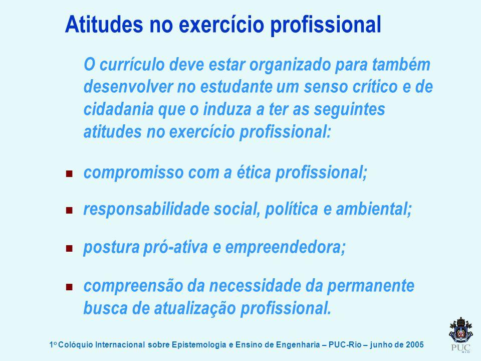 1 o Colóquio Internacional sobre Epistemologia e Ensino de Engenharia – PUC-Rio – junho de 2005 Atitudes no exercício profissional O currículo deve es